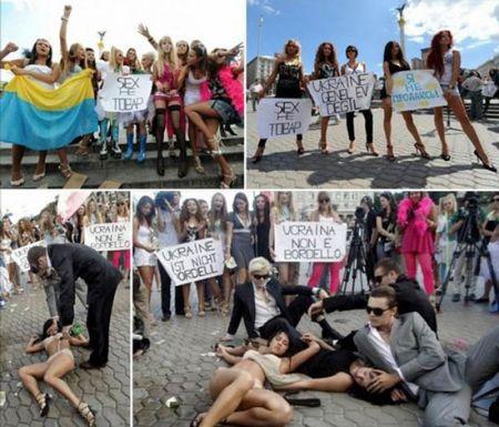 乌克兰美女轻装上阵反对色情_新浪上海_新浪