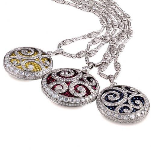 格拉夫钻上之钻系列白色钻石配黄钻,红宝石,蓝宝石底座吊坠项链