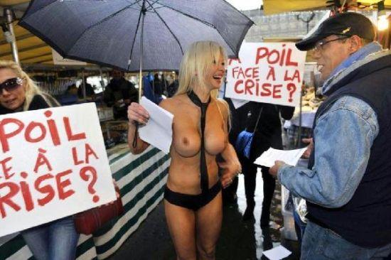 法国美女总统候选人街头裸体拉票