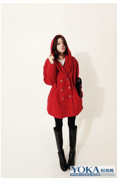 红色甜美大衣