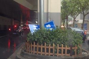 延安中路上道路指示牌在绿化带中