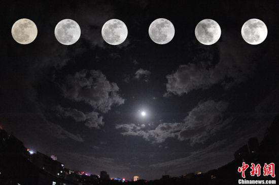 中国多地天宇上演半影月食