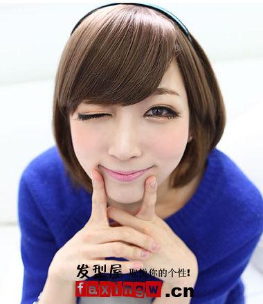 斜刘海直发波波头短发发型;;图片