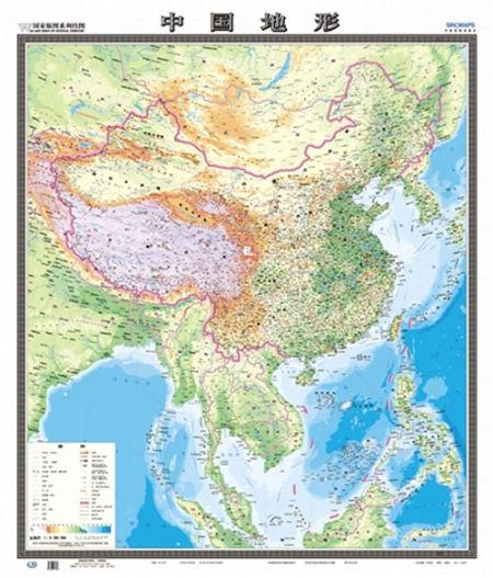 中国新版地图 竖版明确领土(图)