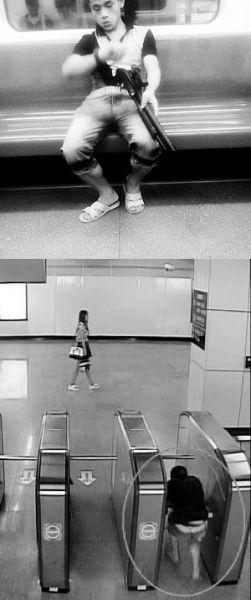"""7月9日晚,9号线车厢内出现了一名""""持枪""""男子(上图),该男子甚至举枪瞄准乘客。据警方介绍,该男子在9号线商城路站避开安检,从闸机逃票钻进地铁车站(下图)。"""