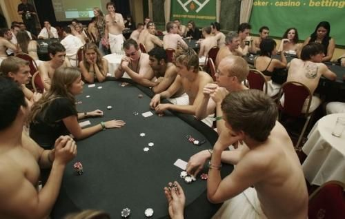 German strip poker contest the cleaners (Figure)