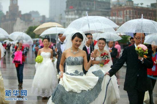 玫瑰婚典在外滩举行新人将赴长白山度蜜月