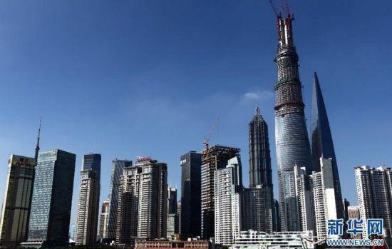国内在建第一高楼上海中心大厦即将实现主体结构封顶