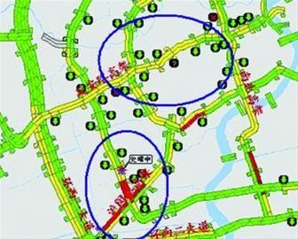 """""""乐行上海""""微博发布昨天8点30分的高架路况图:西南片高架基本为黄色拥堵状态,不少地方为红色拥堵。"""