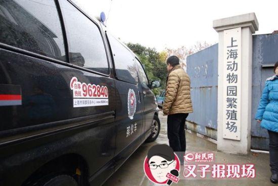 殡葬车到达现场。新民网 记者 萧君玮 摄