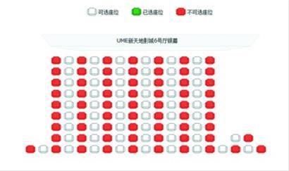 格瓦拉网站显示,新天地UME影城6号厅2月14日的《北京爱情故事》全场座位红白相间,格外整齐。