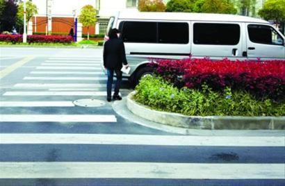 □合川路上,一条人行横道线被绿化带截断。 /晨报记者 肖允 实习生 卫荩成