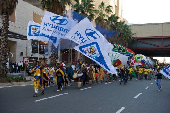 图为现代汽车2010南非世界杯主题活动