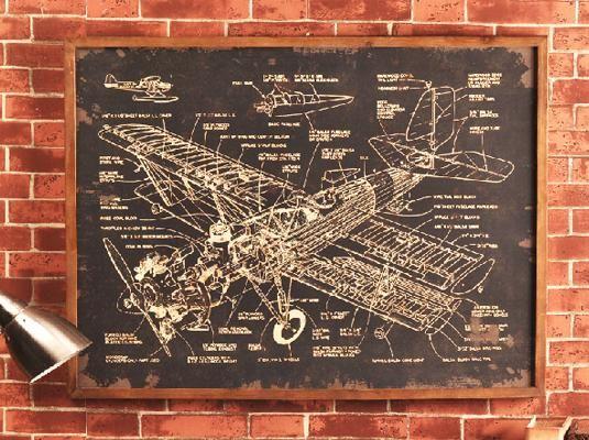 飞机模型黑板壁挂