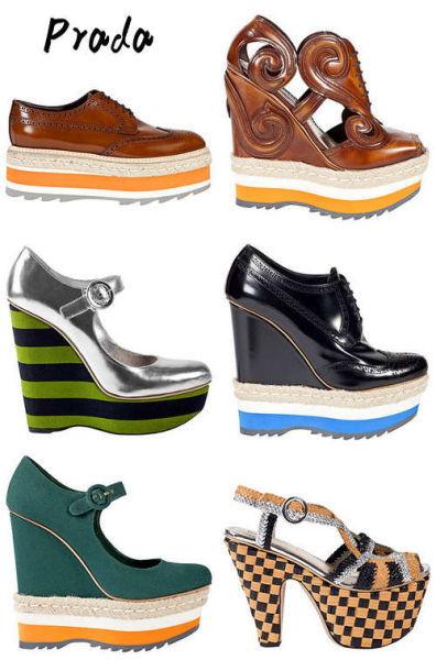 Prada今季的松糕鞋最为出挑