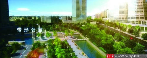 未来的城市公园规划图。