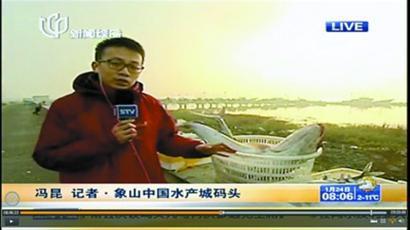 上海电视台记者今天上午在象山连线直播 截屏图