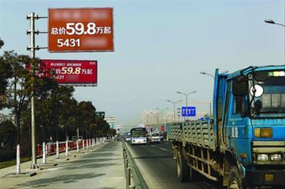 """浦星公路上的""""山寨""""指示牌很容易与路牌混淆 晨报记者 竺钢 实习生 陈嘉"""
