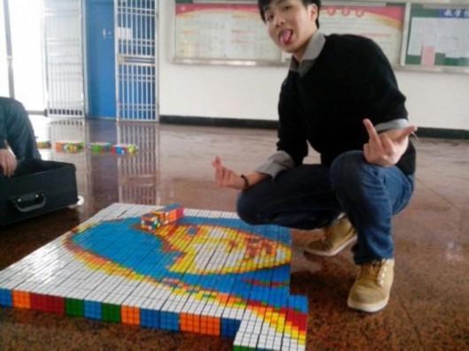 上理工一男生用600个魔方拼出女友头像(图)