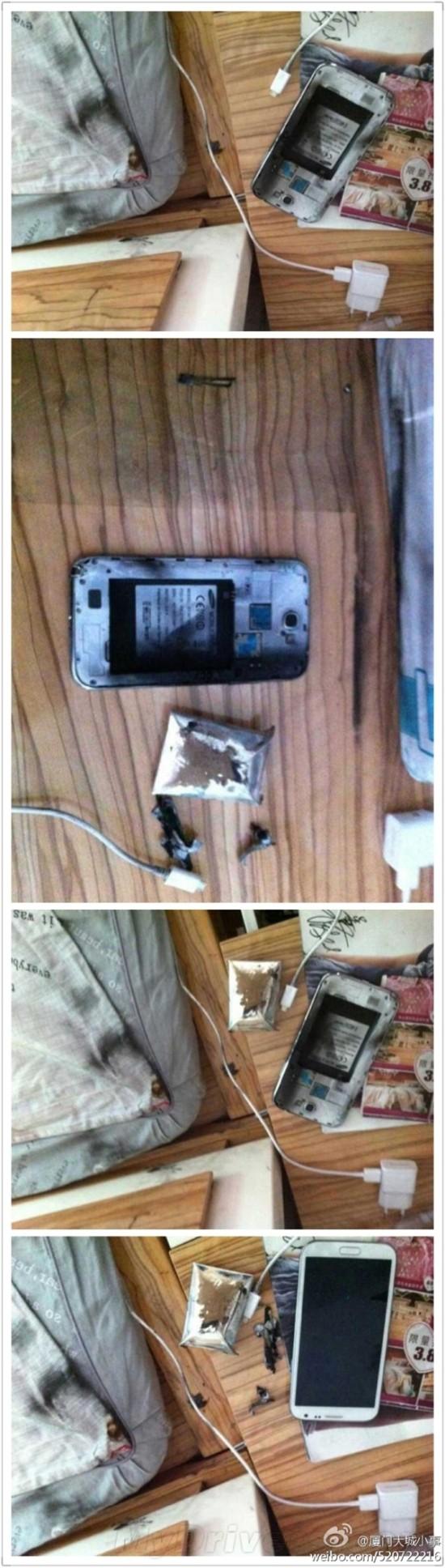 三星Galaxy Note 2充电时突然爆炸
