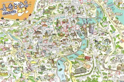 手绘地图囊括上海300多个书城、书店和文化场所