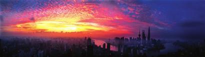 昨日早晨,一轮红日从天际升起,映红了上海的天空。□新闻晨报 王 杰 摄