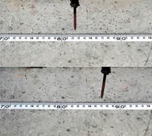 现场记录仪器显示大楼在时长约两分钟内的平移距离(拼版照片)。  新华社发