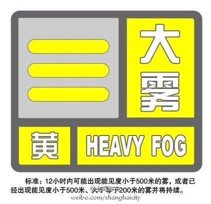 大雾黄色预警发布