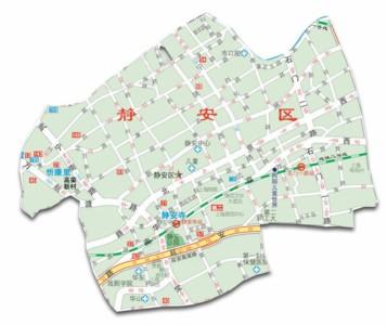 上海市静安区行政地图;