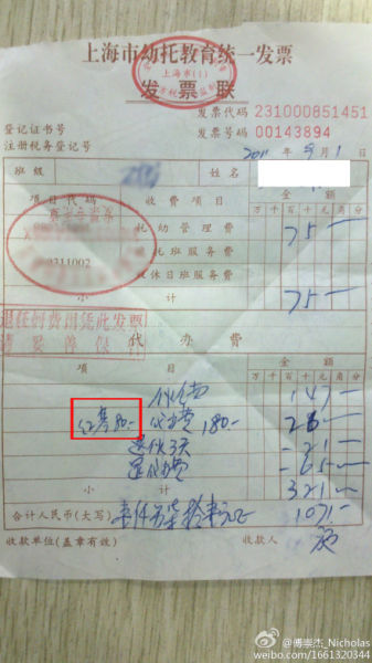 本报讯 (记者张晗)9月1日,网友傅崇杰_Nicholas发表微博称,其同事的孩子入上海的一家幼儿园学习,被强制向红十字会缴纳80元捐款。昨日,上海市中小学生婴幼儿住院互助基金管理办公室称(下称住基办),80元是少儿住院基金,家长为孩子自愿参保。   家长称被强制捐款红会   9月1日,傅崇杰_Nicholas发表微博称,红十字基金真是牛啊,今天同事的女儿交学费,竟然强制要求给红十字基金会捐款80元,硬指标,必须捐!他还在文字之后附上了一张上海市幼托教育统一发票的照片,发票中下半联代办费