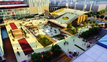 建成后的露天广场效果图
